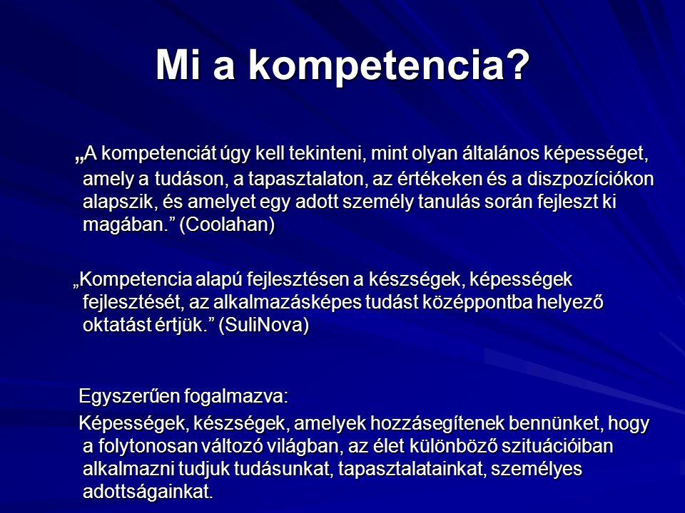 A kompetencia 6 összetevője  ismeretek, tudás  készségek, jártasságok  személyes értékek  attitüd  személyiségvonások  motivációk
