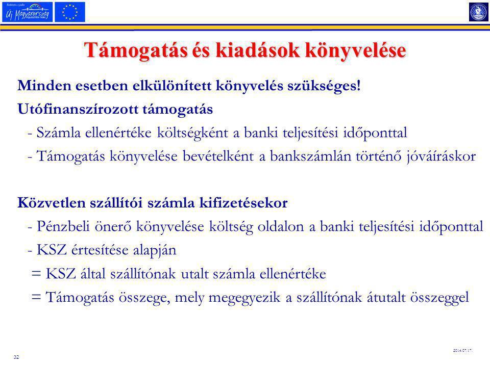 32 2014.07.17.Támogatás és kiadások könyvelése Minden esetben elkülönített könyvelés szükséges.