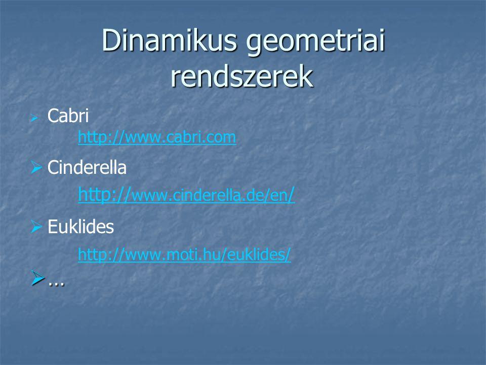 Dinamikus geometriai rendszerek   Cabri http://www.cabri.com   Cinderella http:// www.cinderella.de/en /   Euklides http://www.moti.hu/euklides/ …………