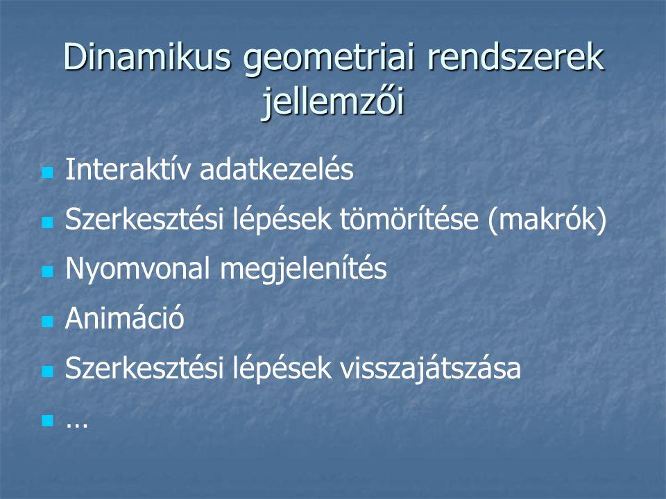 Dinamikus geometriai rendszerek jellemzői Interaktív adatkezelés Szerkesztési lépések tömörítése (makrók) Nyomvonal megjelenítés Animáció Szerkesztési lépések visszajátszása …
