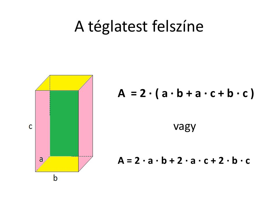A téglatest felszíne A = 2 · ( a · b + a · c + b · c ) vagy A = 2 · a · b + 2 · a · c + 2 · b · c