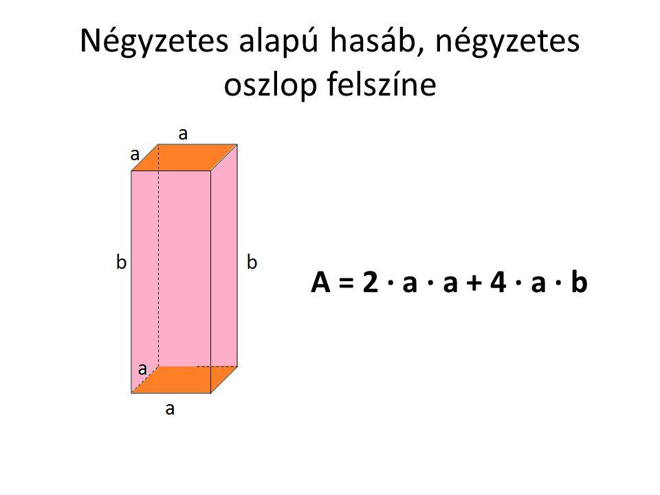 Négyzetes alapú hasáb, négyzetes oszlop felszíne A = 2 · a · a + 4 · a · b