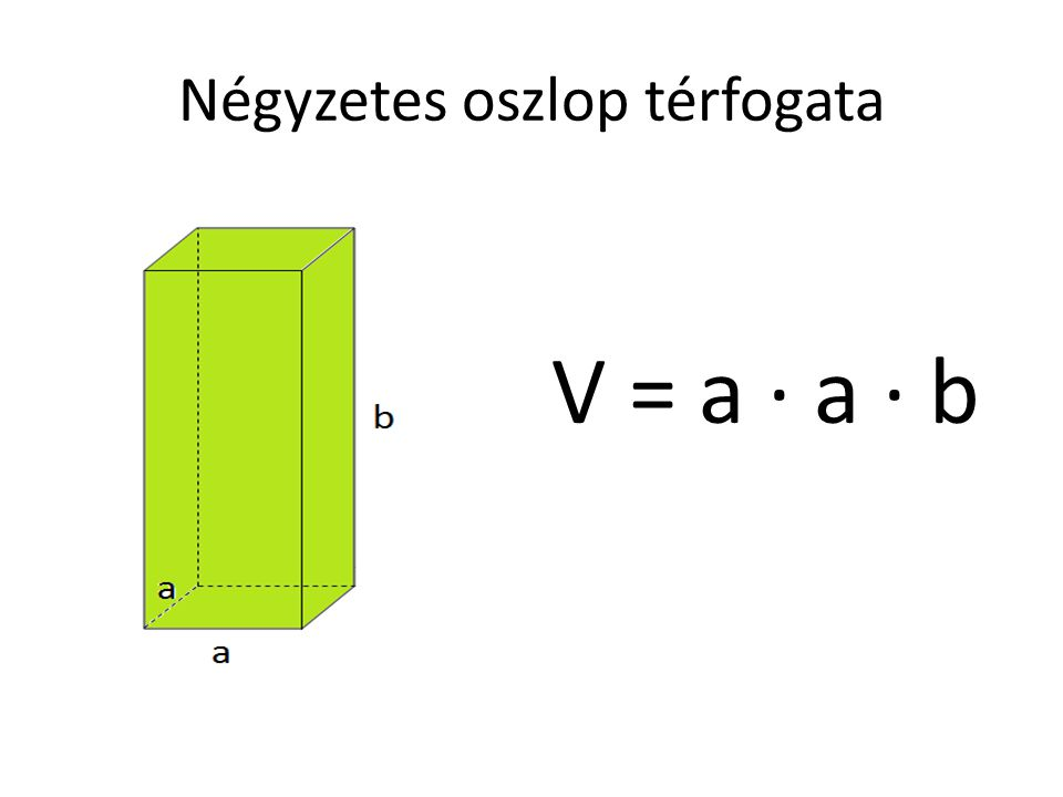 Négyzetes oszlop térfogata V = a · a · b