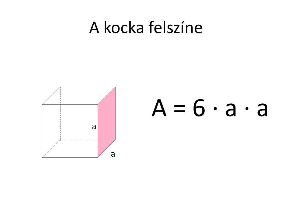 A kocka felszíne A = 6 · a · a