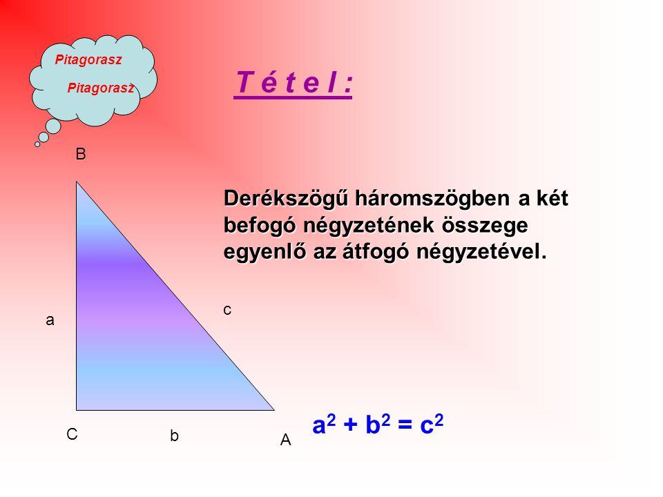 Pitagorasz b c B C A a Derékszögű háromszögben a két befogó négyzetének összege egyenlő az átfogó négyzetével.