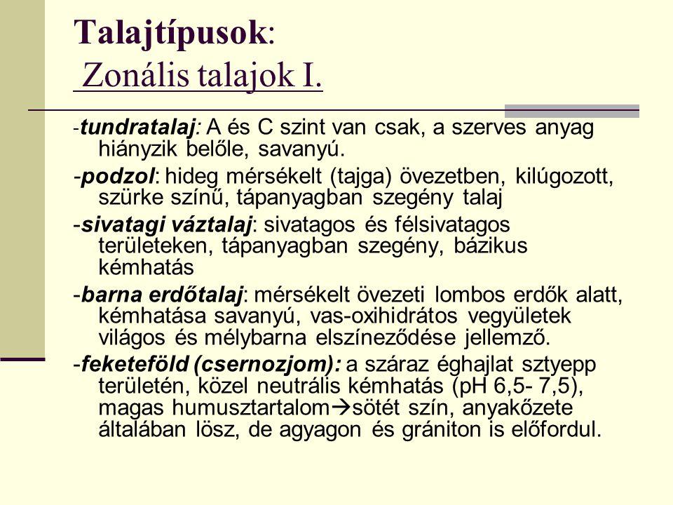 Talajtípusok: Zonális talajok I. - tundratalaj: A és C szint van csak, a szerves anyag hiányzik belőle, savanyú. -podzol: hideg mérsékelt (tajga) övez