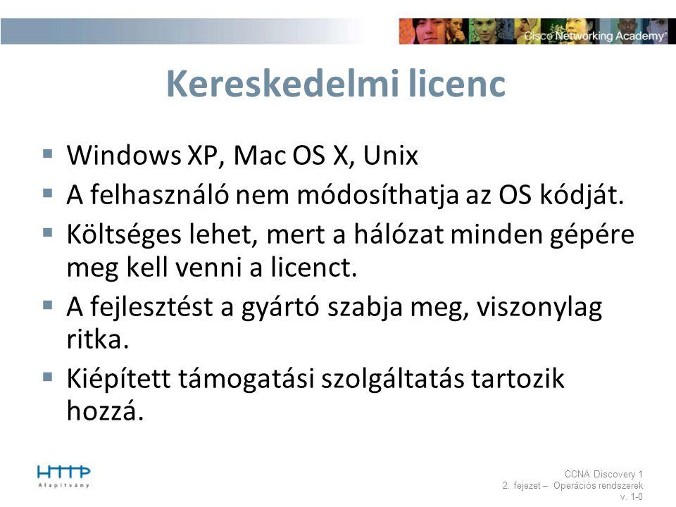 CCNA Discovery 1 2. fejezet – Operációs rendszerek v. 1-0 Kereskedelmi licenc  Windows XP, Mac OS X, Unix  A felhasználó nem módosíthatja az OS kódj