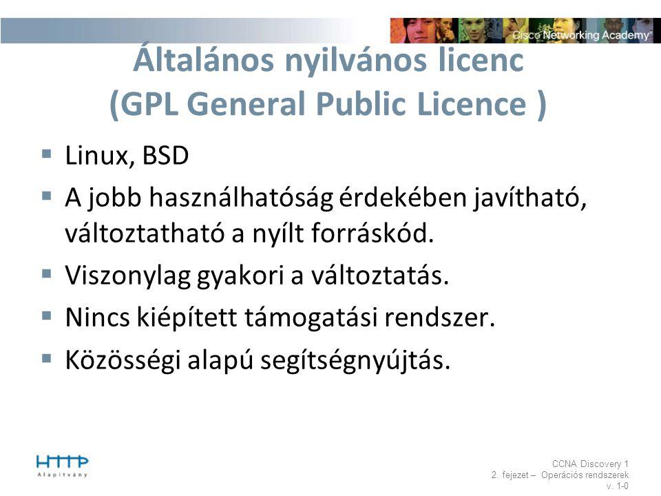 CCNA Discovery 1 2. fejezet – Operációs rendszerek v. 1-0 Általános nyilvános licenc (GPL General Public Licence )  Linux, BSD  A jobb használhatósá