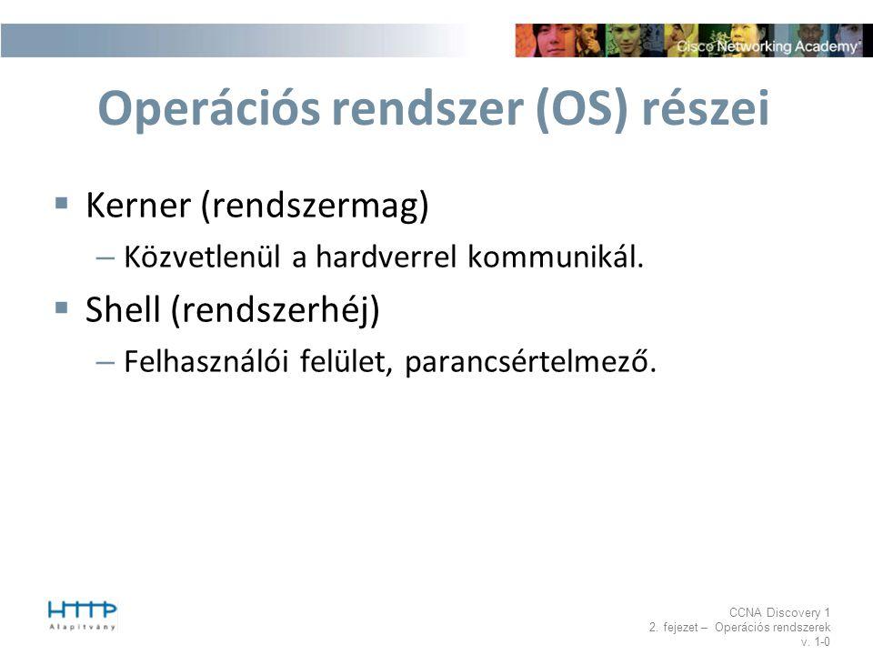 CCNA Discovery 1 2. fejezet – Operációs rendszerek v. 1-0 Operációs rendszer (OS) részei  Kerner (rendszermag) – Közvetlenül a hardverrel kommunikál.