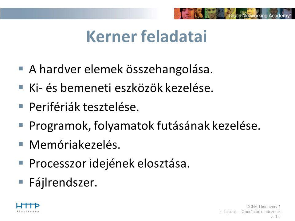 CCNA Discovery 1 2. fejezet – Operációs rendszerek v. 1-0 Kerner feladatai  A hardver elemek összehangolása.  Ki- és bemeneti eszközök kezelése.  P