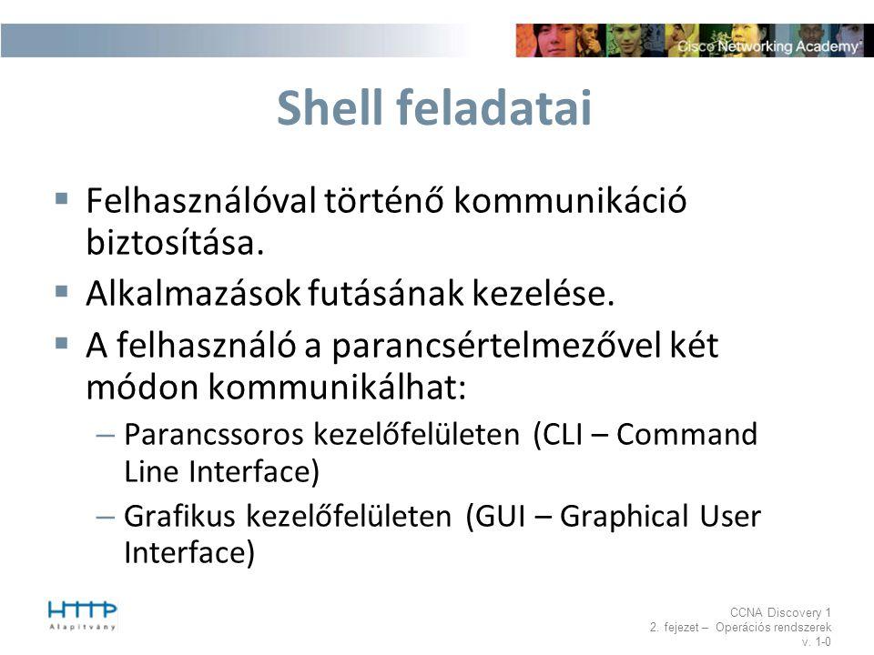 CCNA Discovery 1 2. fejezet – Operációs rendszerek v. 1-0 Shell feladatai  Felhasználóval történő kommunikáció biztosítása.  Alkalmazások futásának