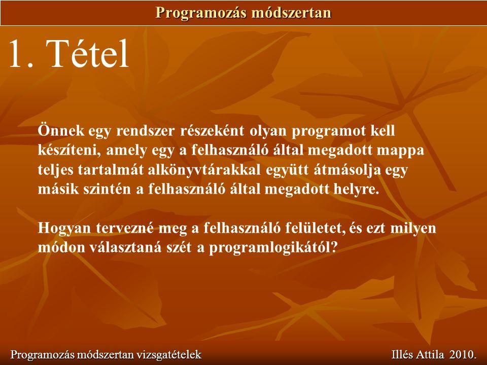 Programozás módszertan Programozás módszertan vizsgatételek Illés Attila 2010. 1. Tétel Önnek egy rendszer részeként olyan programot kell készíteni, a