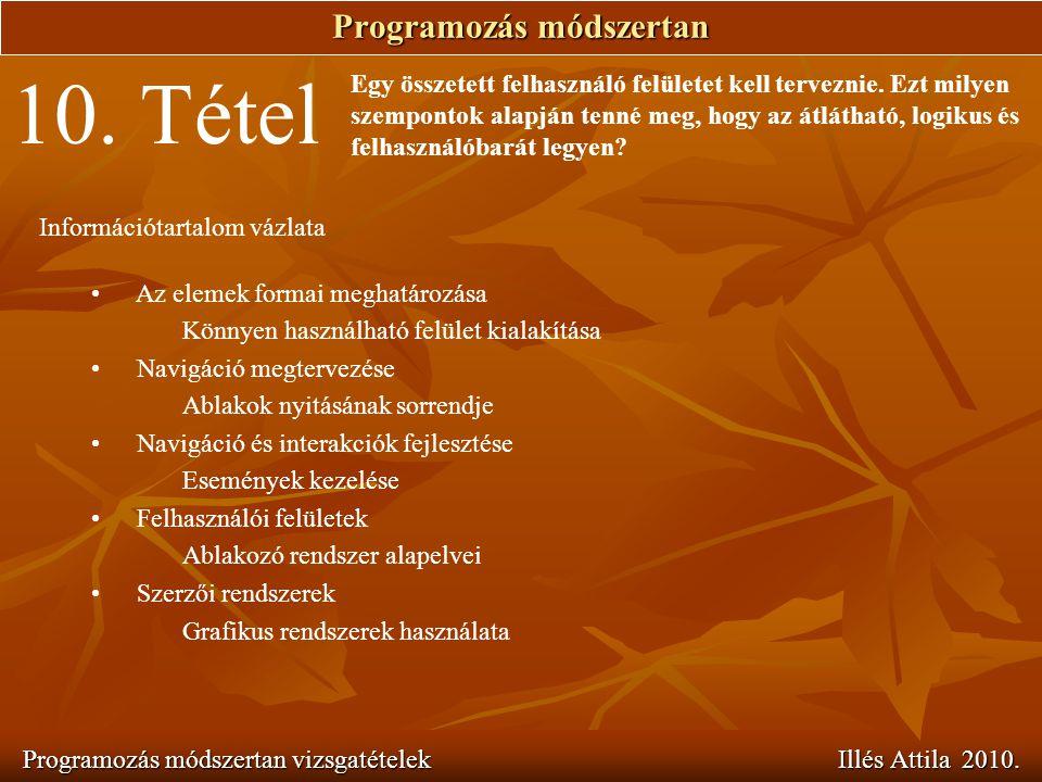 Programozás módszertan Programozás módszertan vizsgatételek Illés Attila 2010. 10. Tétel Egy összetett felhasználó felületet kell terveznie. Ezt milye