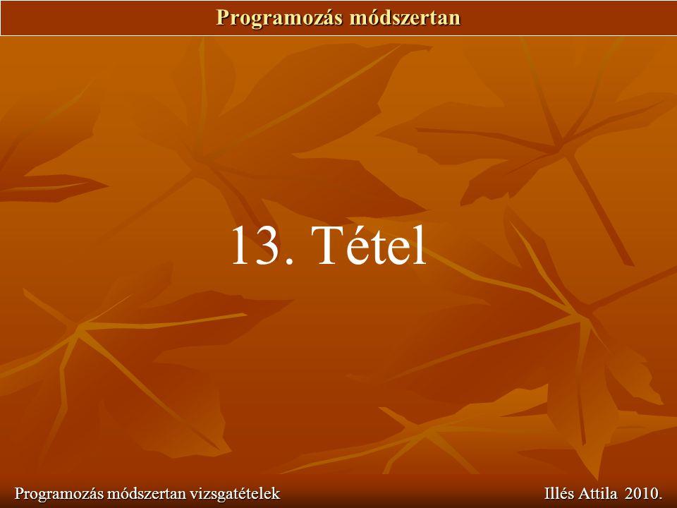 Programozás módszertan Programozás módszertan vizsgatételek Illés Attila 2010. 13. Tétel