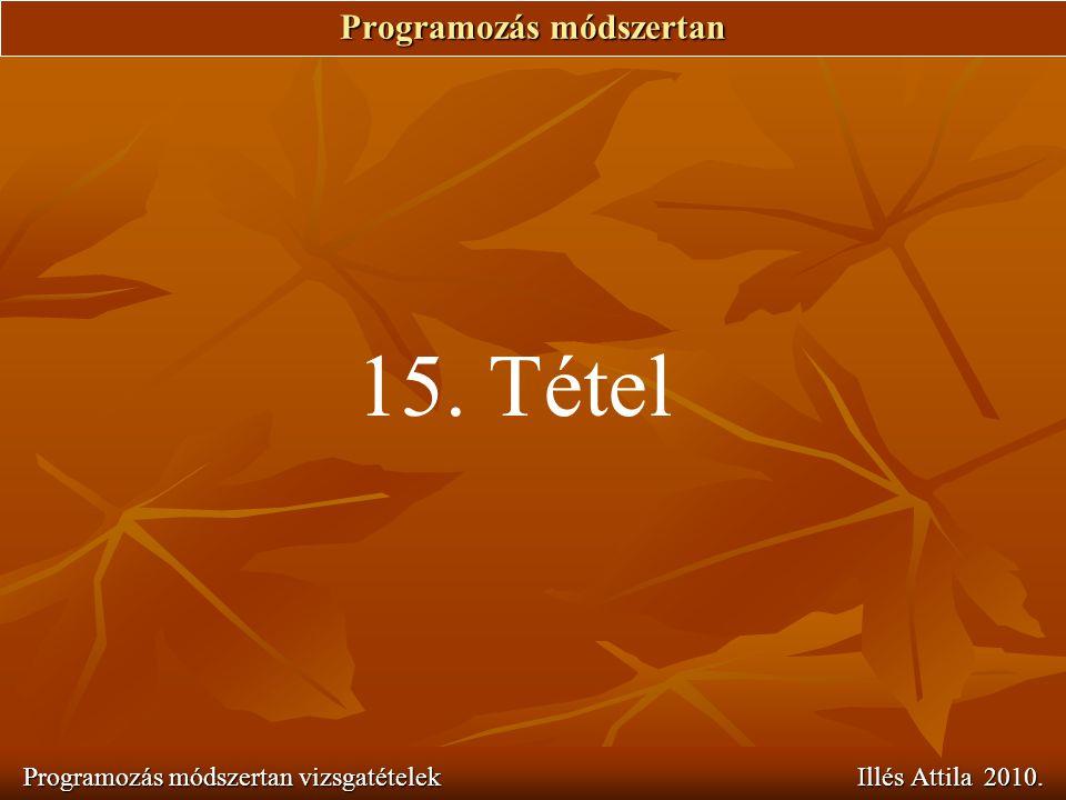 Programozás módszertan Programozás módszertan vizsgatételek Illés Attila 2010. 15. Tétel