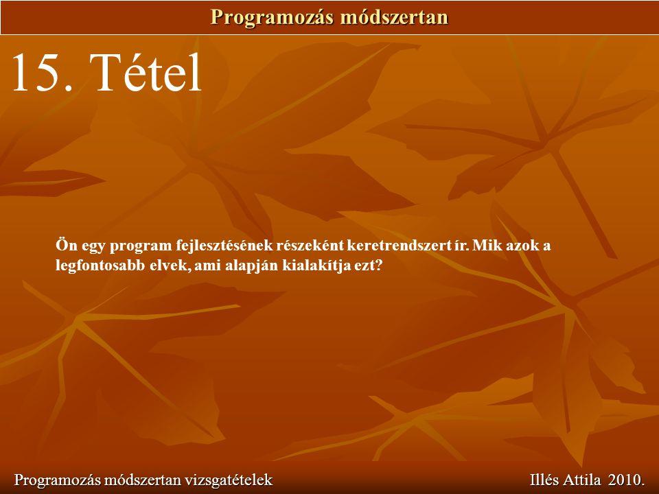 Programozás módszertan Programozás módszertan vizsgatételek Illés Attila 2010. 15. Tétel Ön egy program fejlesztésének részeként keretrendszert ír. Mi