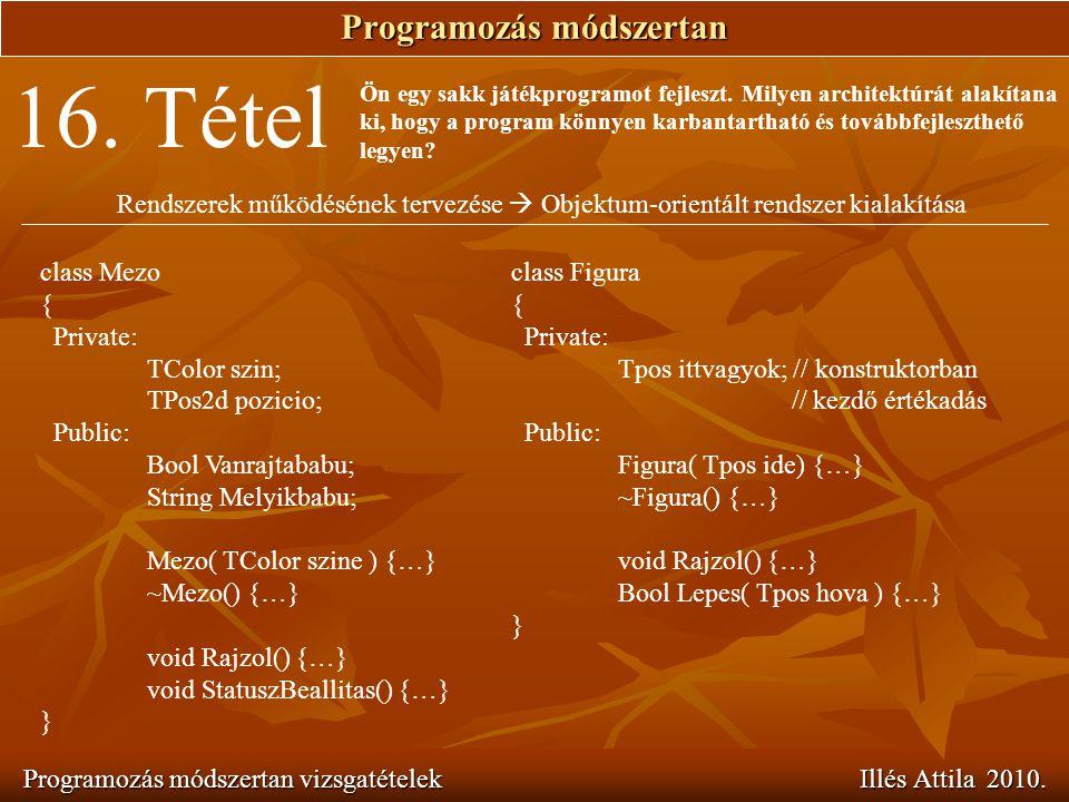 Programozás módszertan Programozás módszertan vizsgatételek Illés Attila 2010. 16. Tétel Ön egy sakk játékprogramot fejleszt. Milyen architektúrát ala