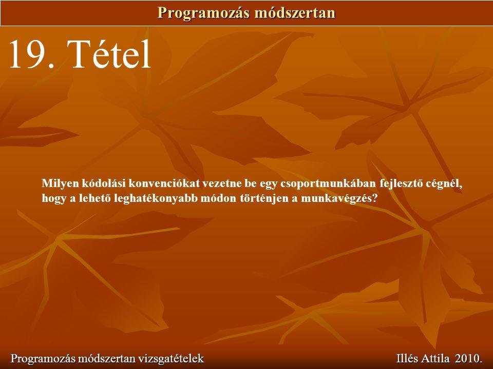 Programozás módszertan Programozás módszertan vizsgatételek Illés Attila 2010. 19. Tétel Milyen kódolási konvenciókat vezetne be egy csoportmunkában f
