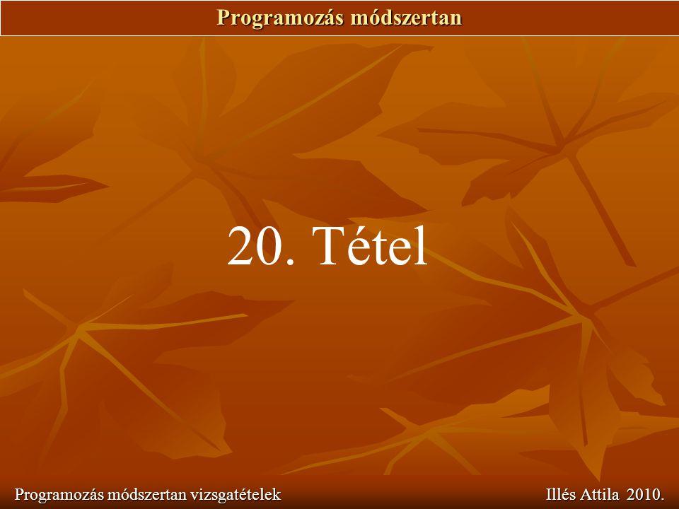 Programozás módszertan Programozás módszertan vizsgatételek Illés Attila 2010. 20. Tétel