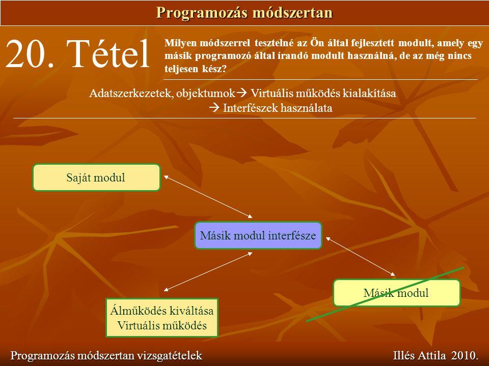 Programozás módszertan Programozás módszertan vizsgatételek Illés Attila 2010. 20. Tétel Milyen módszerrel tesztelné az Ön által fejlesztett modult, a