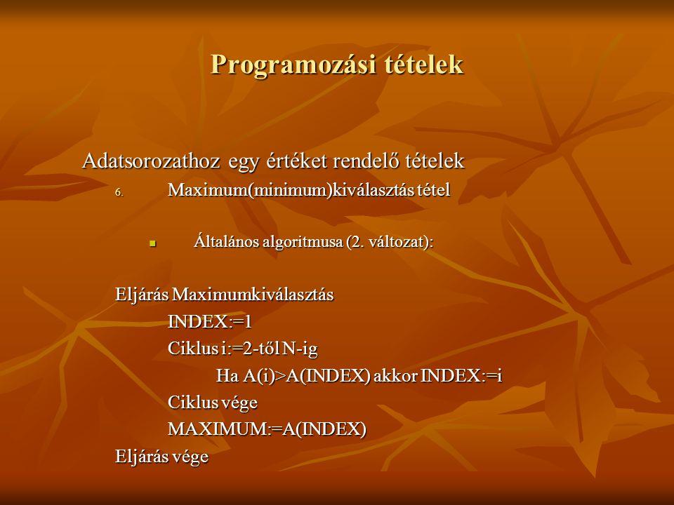 Programozási tételek Adatsorozathoz egy értéket rendelő tételek 6. Maximum(minimum)kiválasztás tétel Általános algoritmusa (2. változat): Általános al