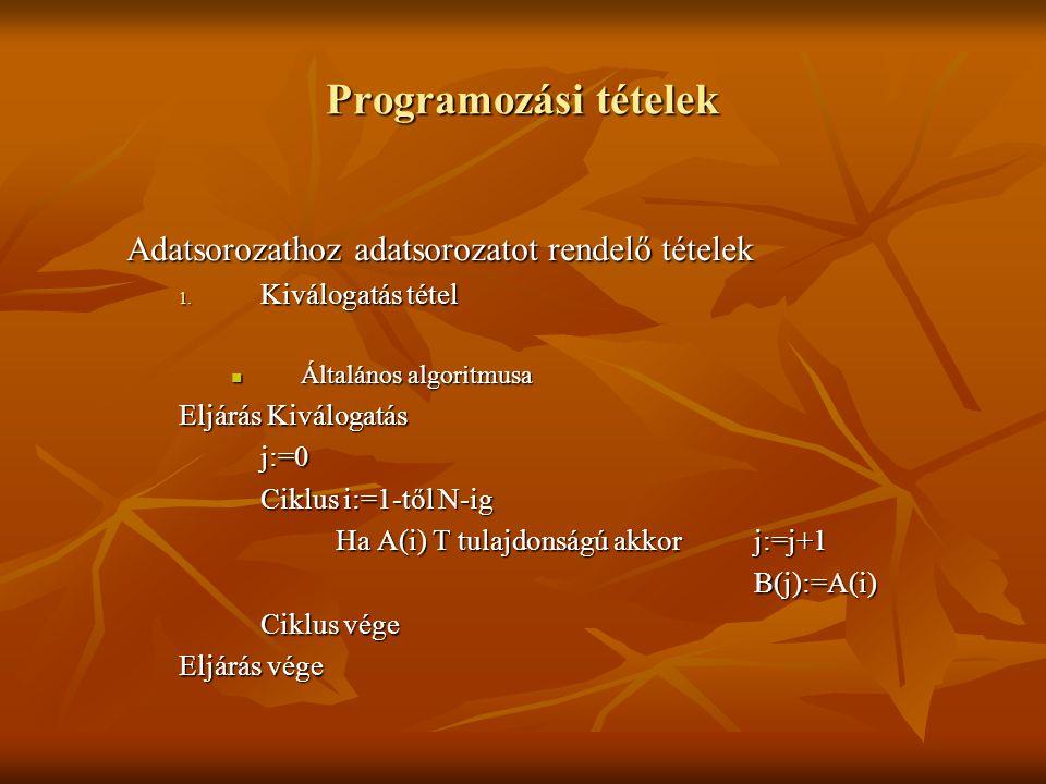 Programozási tételek Adatsorozathoz adatsorozatot rendelő tételek 1. Kiválogatás tétel Általános algoritmusa Általános algoritmusa Eljárás Kiválogatás