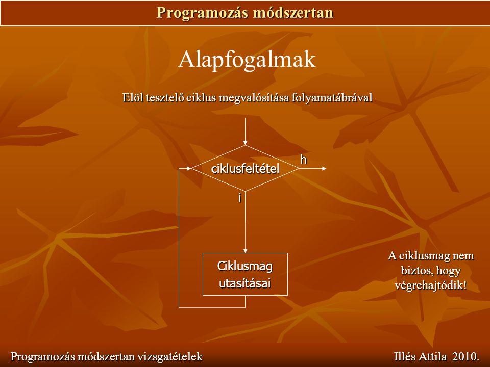 Programozás módszertan Programozás módszertan vizsgatételek Illés Attila 2010. Alapfogalmak Elöl tesztelő ciklus megvalósítása folyamatábrával i ciklu
