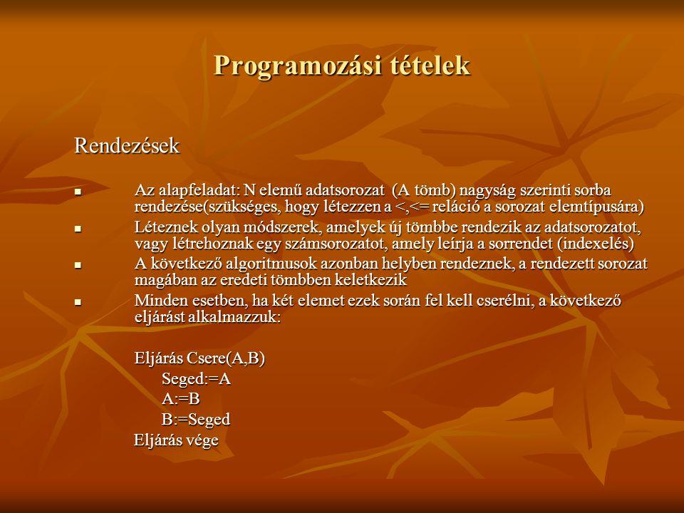Programozási tételek Rendezések Az alapfeladat: N elemű adatsorozat (A tömb) nagyság szerinti sorba rendezése(szükséges, hogy létezzen a <,<= reláció