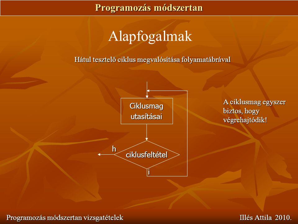 Programozás módszertan Programozás módszertan vizsgatételek Illés Attila 2010. Alapfogalmak Hátul tesztelő ciklus megvalósítása folyamatábrával A cikl