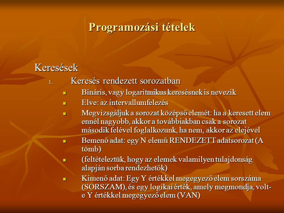 Programozási tételek Keresések 1. Keresés rendezett sorozatban Bináris, vagy logaritmikus keresésnek is nevezik Bináris, vagy logaritmikus keresésnek