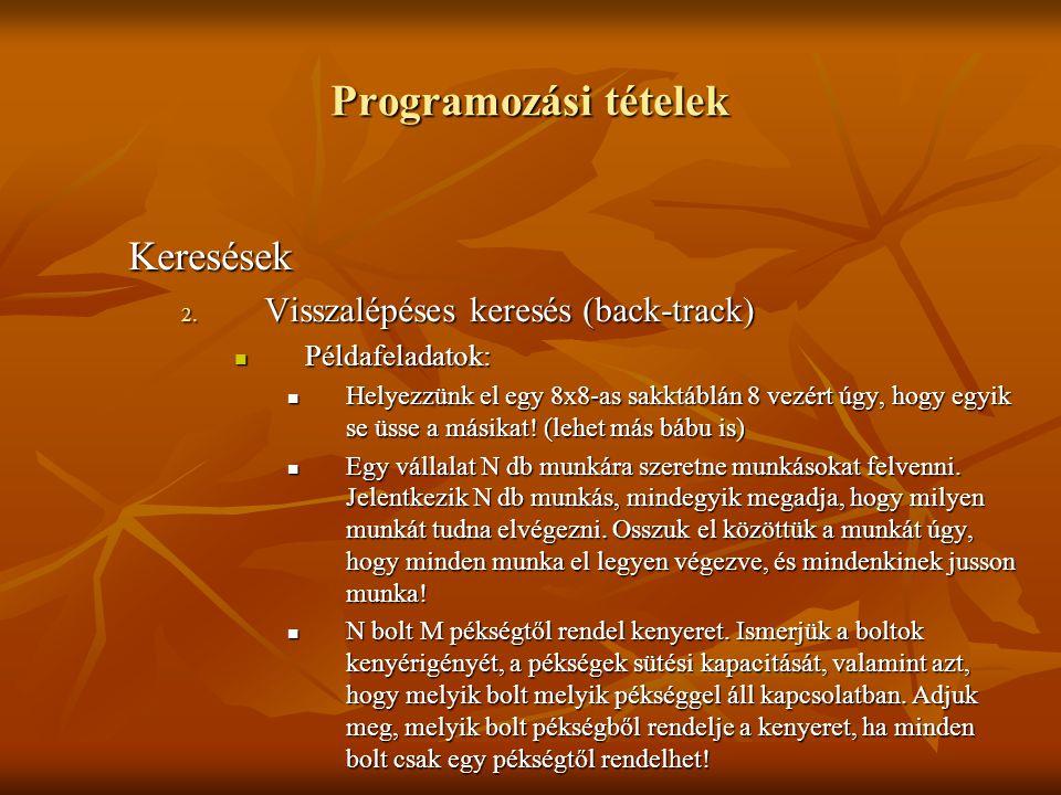 Programozási tételek Keresések 2. Visszalépéses keresés (back-track) Példafeladatok: Példafeladatok: Helyezzünk el egy 8x8-as sakktáblán 8 vezért úgy,