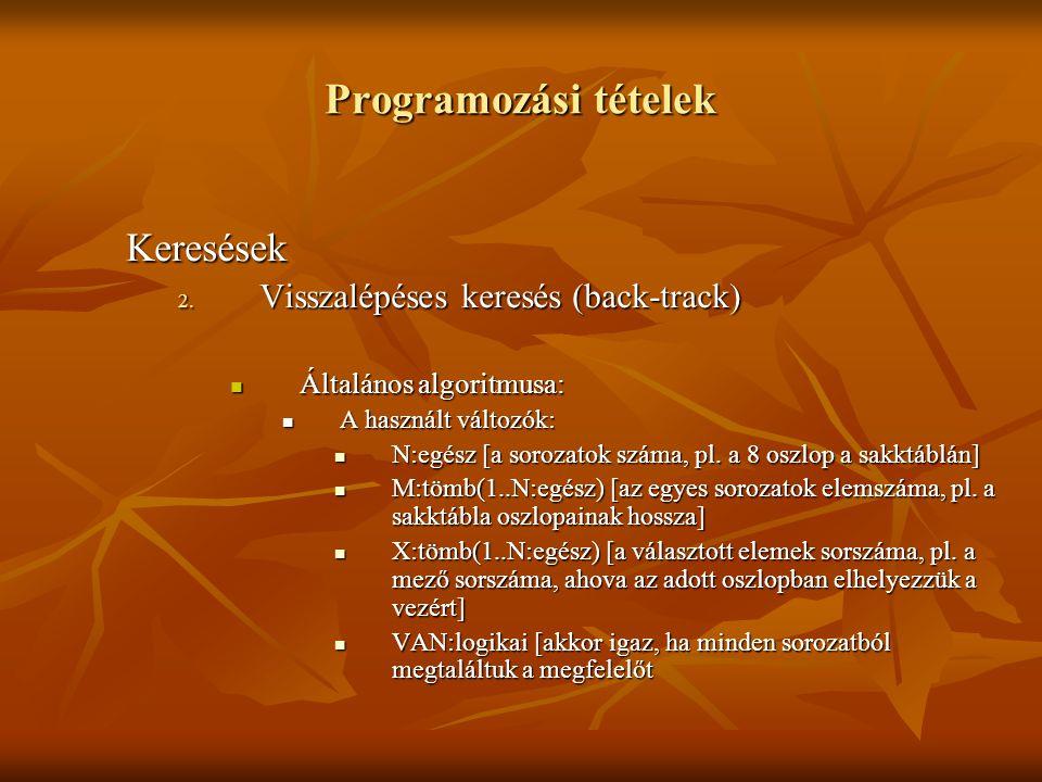 Programozási tételek Keresések 2. Visszalépéses keresés (back-track) Általános algoritmusa: Általános algoritmusa: A használt változók: A használt vál