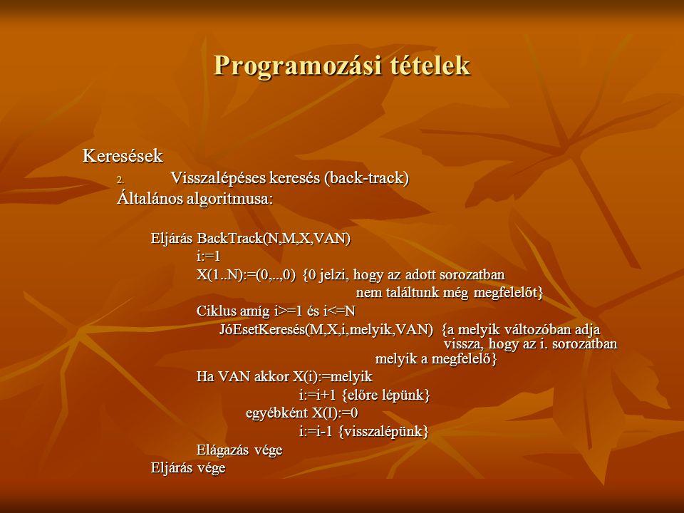 Programozási tételek Keresések 2. Visszalépéses keresés (back-track) Általános algoritmusa: Eljárás BackTrack(N,M,X,VAN) i:=1 X(1..N):=(0,..,0) {0 jel