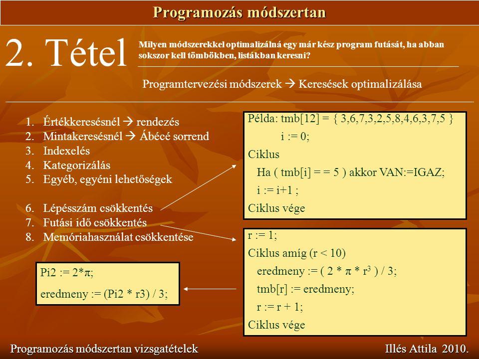 Programozás módszertan Programozás módszertan vizsgatételek Illés Attila 2010. 2. Tétel Milyen módszerekkel optimalizálná egy már kész program futását
