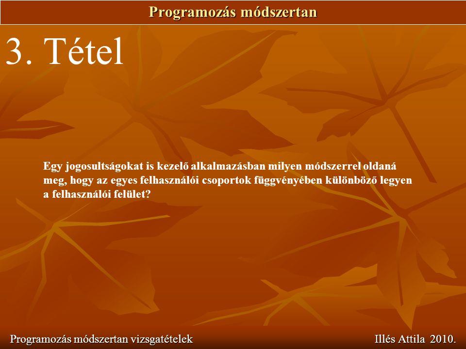 Programozás módszertan Programozás módszertan vizsgatételek Illés Attila 2010. 3. Tétel Egy jogosultságokat is kezelő alkalmazásban milyen módszerrel
