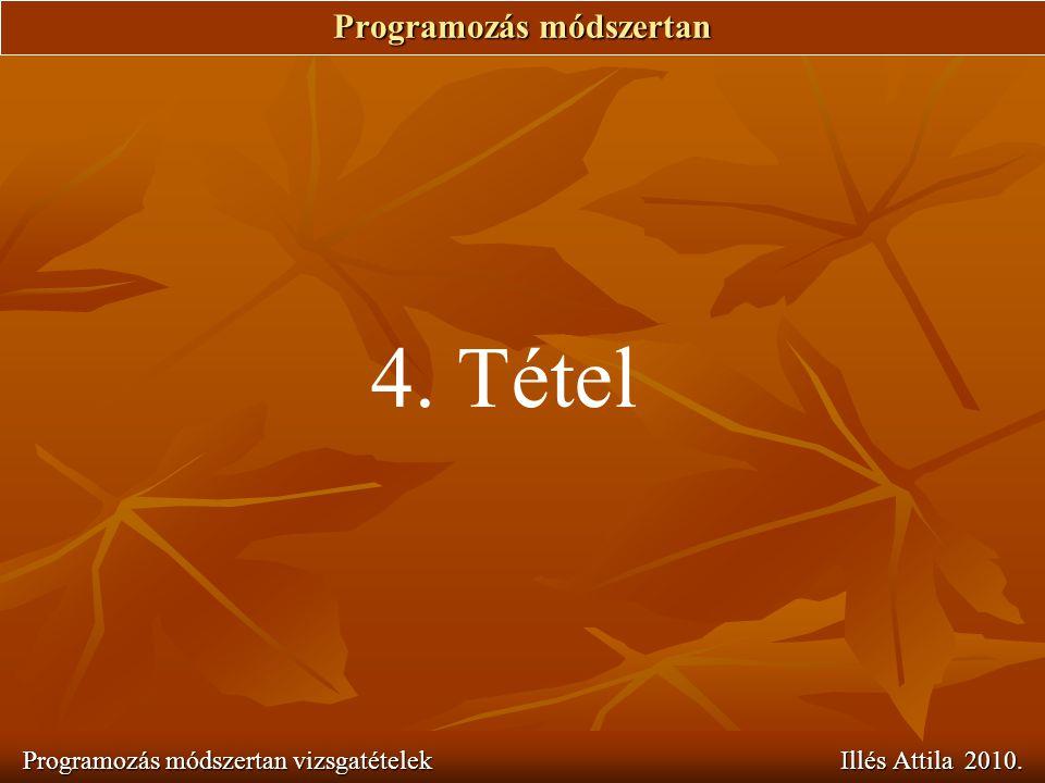 Programozás módszertan Programozás módszertan vizsgatételek Illés Attila 2010. 4. Tétel