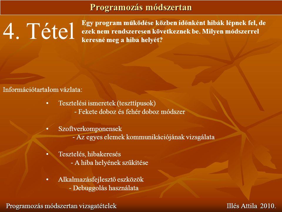 Programozás módszertan Programozás módszertan vizsgatételek Illés Attila 2010. 4. Tétel Egy program működése közben időnként hibák lépnek fel, de ezek