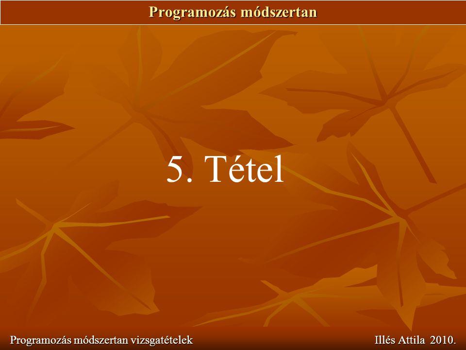 Programozás módszertan Programozás módszertan vizsgatételek Illés Attila 2010. 5. Tétel