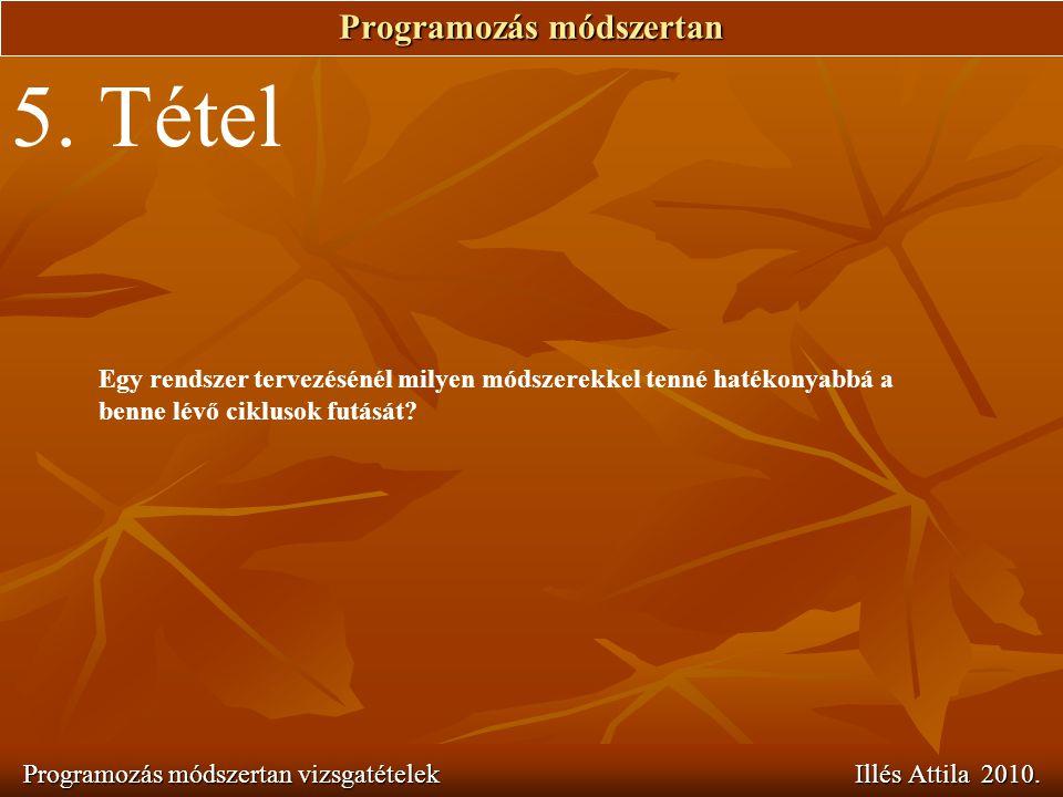 Programozás módszertan Programozás módszertan vizsgatételek Illés Attila 2010. 5. Tétel Egy rendszer tervezésénél milyen módszerekkel tenné hatékonyab