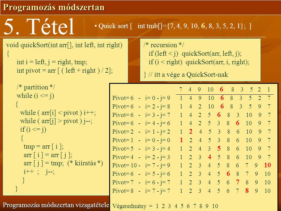 Programozás módszertan Programozás módszertan vizsgatételek 5. Tétel Quick sort [ int tmb[]={7, 4, 9, 10, 6, 8, 3, 5, 2, 1}; ] void quickSort(int arr[