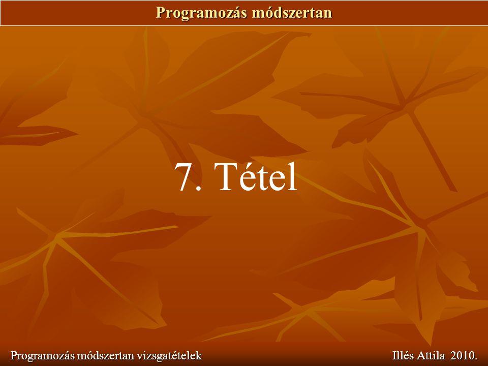 Programozás módszertan Programozás módszertan vizsgatételek Illés Attila 2010. 7. Tétel