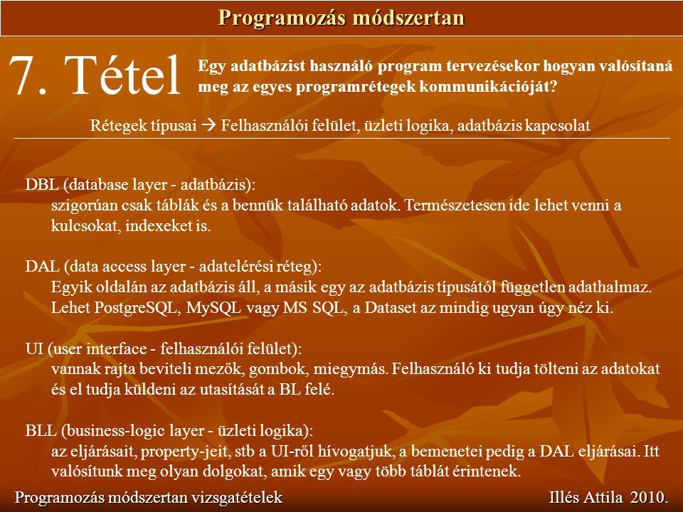 Programozás módszertan Programozás módszertan vizsgatételek Illés Attila 2010. 7. Tétel Egy adatbázist használó program tervezésekor hogyan valósítaná