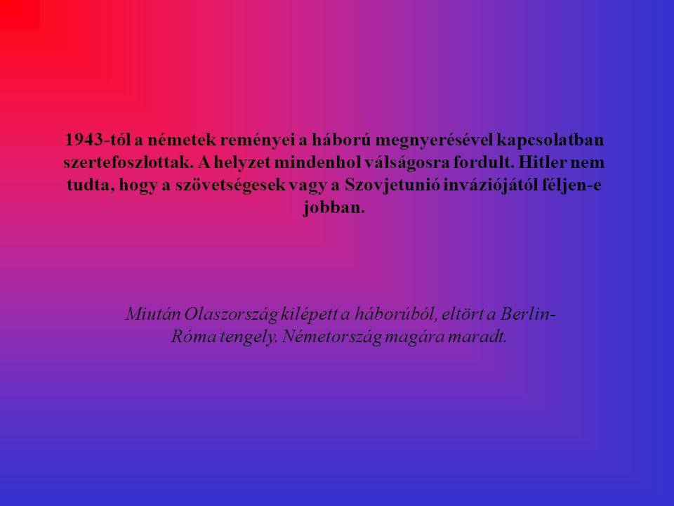 A keleti hadszintér 1942-43-ban. Hitler nem 3000 Km- es szakaszon indította meg csapatait, hanem csak 1000 Km-en próbált előrenyomulni. Viszont az oro