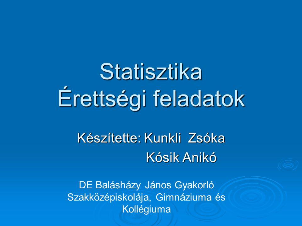 Statisztika Érettségi feladatok Készítette: Kunkli Zsóka Kósik Anikó DE Balásházy János Gyakorló Szakközépiskolája, Gimnáziuma és Kollégiuma