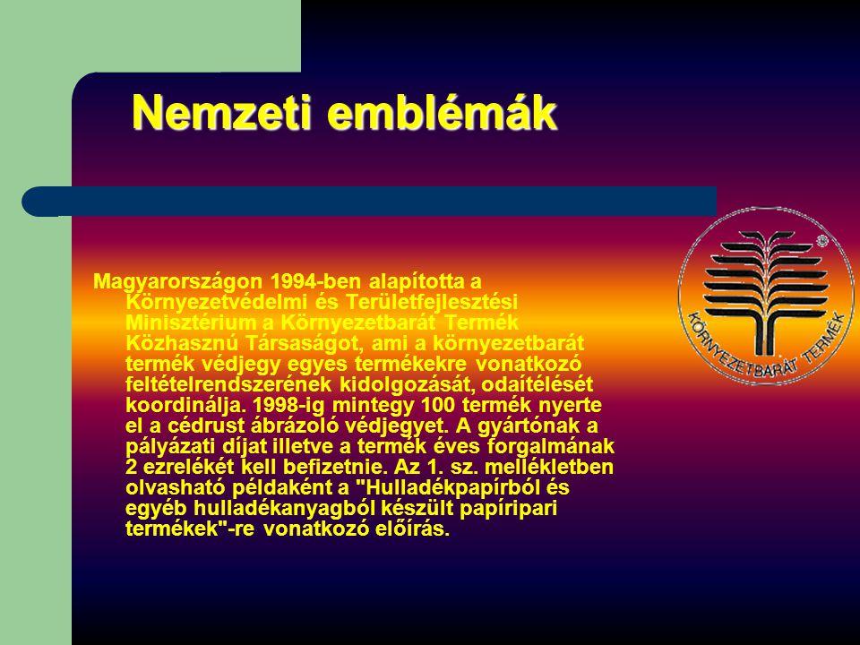 Nemzeti emblémák Magyarországon 1994-ben alapította a Környezetvédelmi és Területfejlesztési Minisztérium a Környezetbarát Termék Közhasznú Társaságot