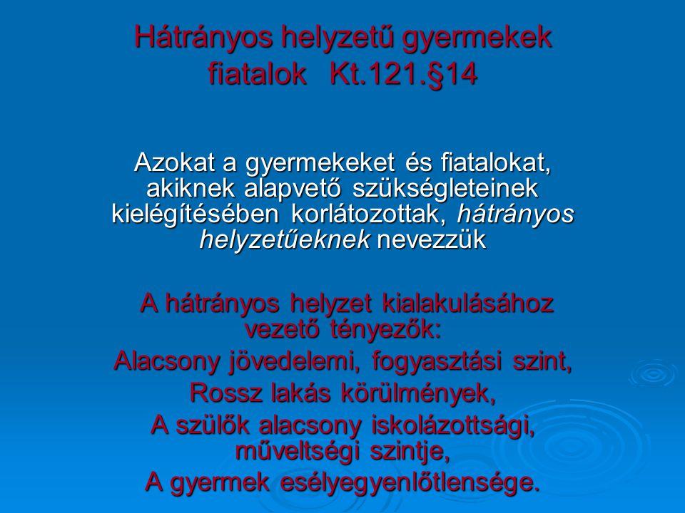 Hátrányos helyzetű gyermekek fiatalok Kt.121.§14 Azokat a gyermekeket és fiatalokat, akiknek alapvető szükségleteinek kielégítésében korlátozottak, há