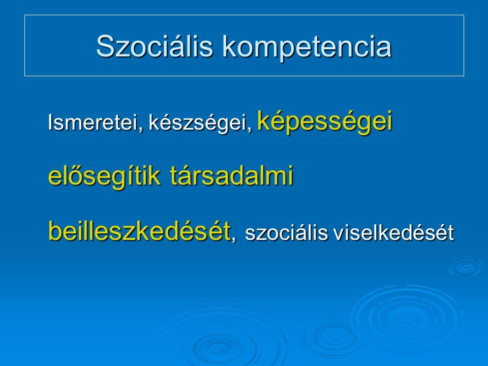 Szociális kompetencia Ismeretei, készségei, képességei elősegítik társadalmi beilleszkedését, szociális viselkedését Ismeretei, készségei, képességei