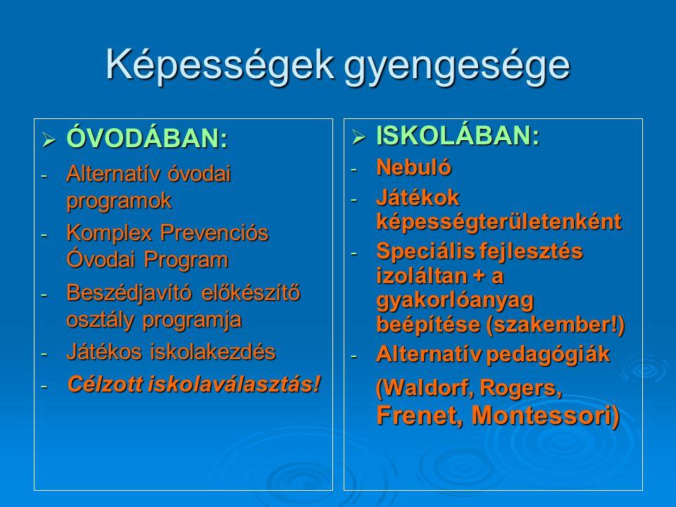 Képességek gyengesége  ÓVODÁBAN: - Alternatív óvodai programok - Komplex Prevenciós Óvodai Program - Beszédjavító előkészítő osztály programja - Játé