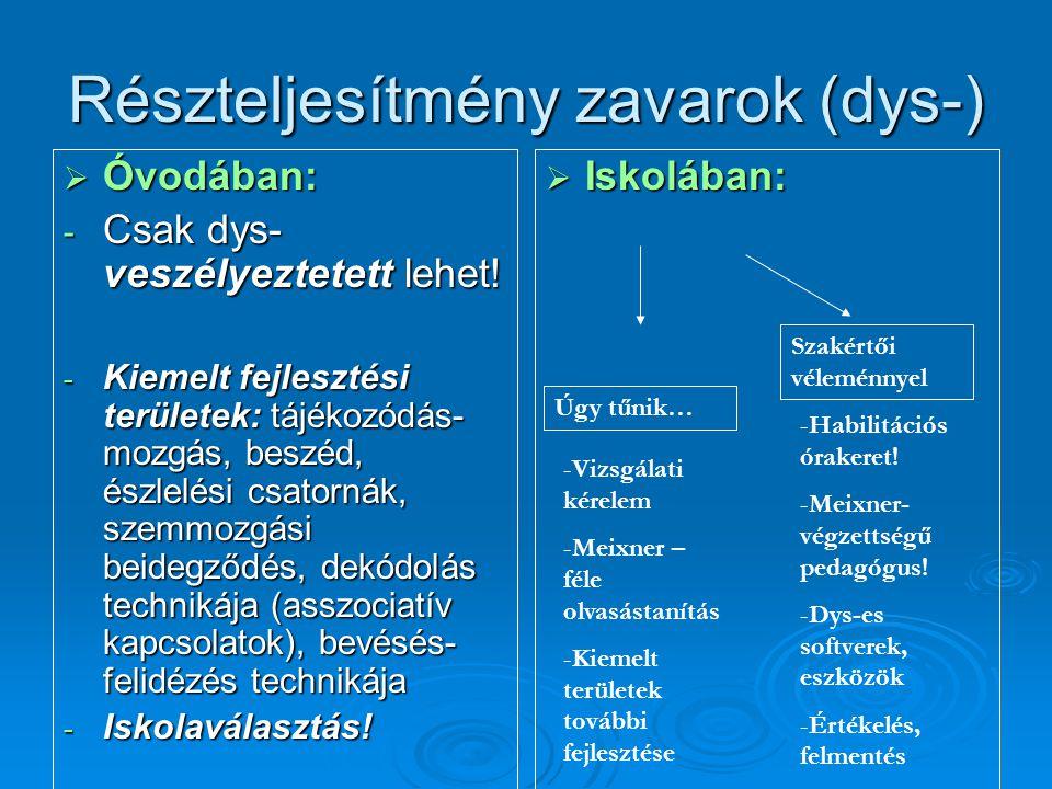 Részteljesítmény zavarok (dys-)  Óvodában: - Csak dys- veszélyeztetett lehet! - Kiemelt fejlesztési területek: tájékozódás- mozgás, beszéd, észlelési