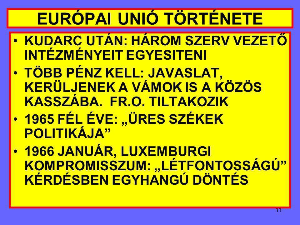 10 EURÓPAI UNIÓ TÖRTÉNETE FOUCHET-TERV: NEM FÖDERATIV, FRANCIA VEZETÉS, PRIMÁTUS 1962 ÁPRILIS: ELVETIK 1962 NYARA: PÁRIZS-BONN TENGELY LÉTREJÖN UK TÁR